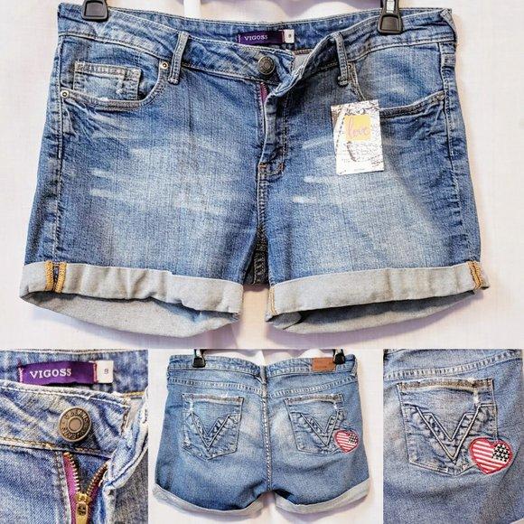 Vigoss Pants - 💋Vigoss Stars & Stripes Heart Patch shorts size 9